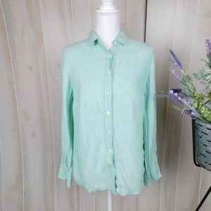 J. Crew Mint Linen Perfect Shirt